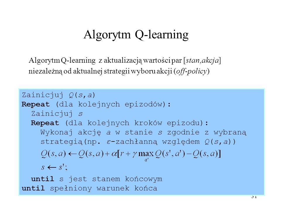 Algorytm Q-learning Algorytm Q-learning z aktualizacją wartości par [stan,akcja] niezależną od aktualnej strategii wyboru akcji (off-policy)